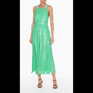 Tibi Sequin Overall Dress Green
